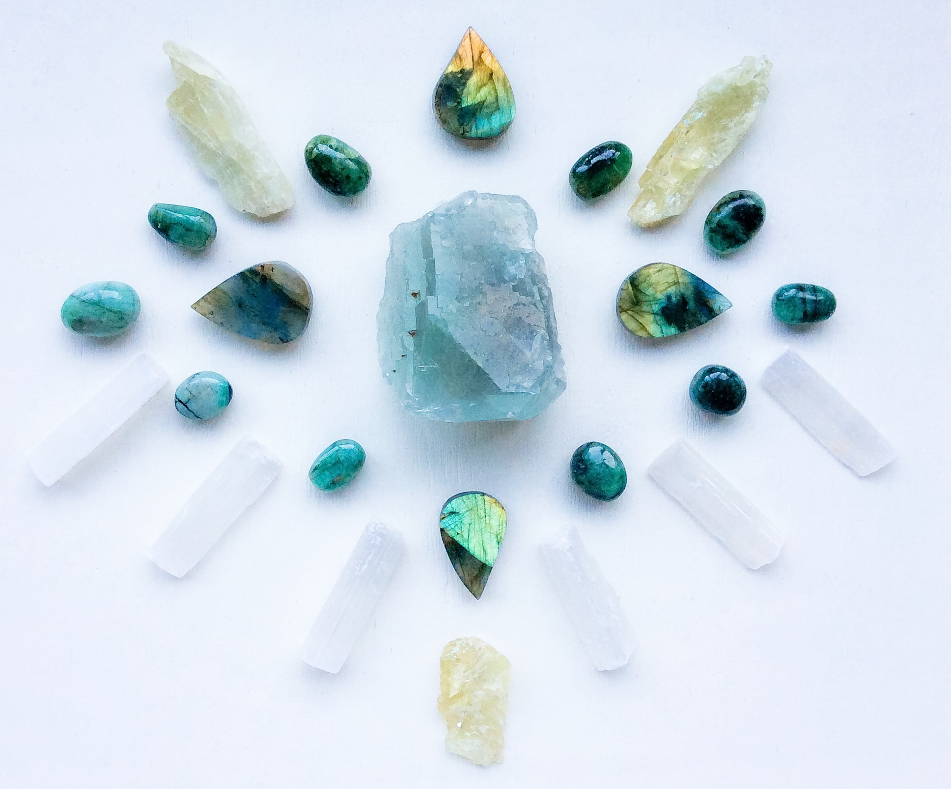 Blue Fluorite, Labradorite, Hiddenite, Emerald and Selenite