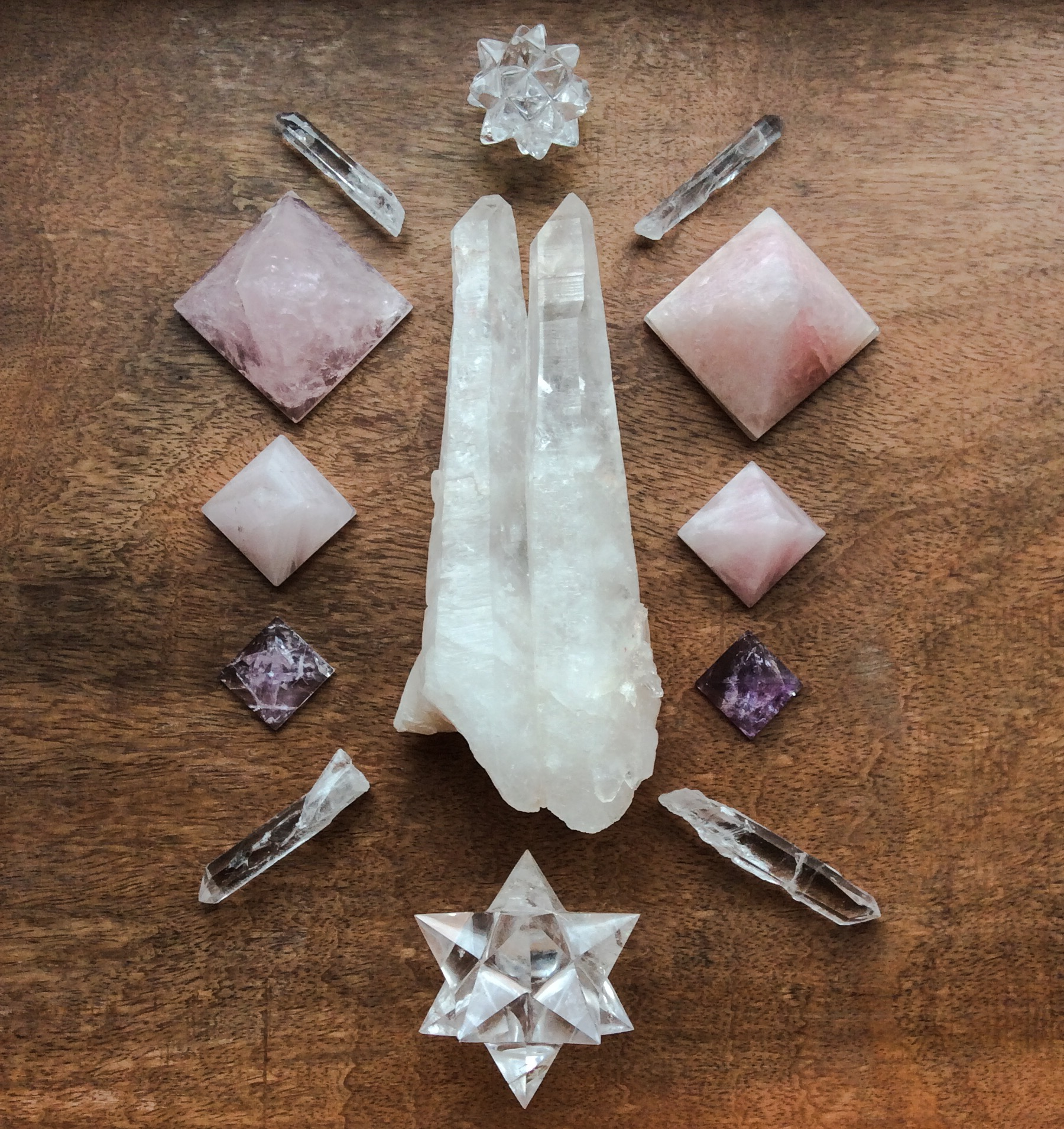 Twin Quartz, Lemurian Quartz, Quartz, Rose Quartz and Amethyst
