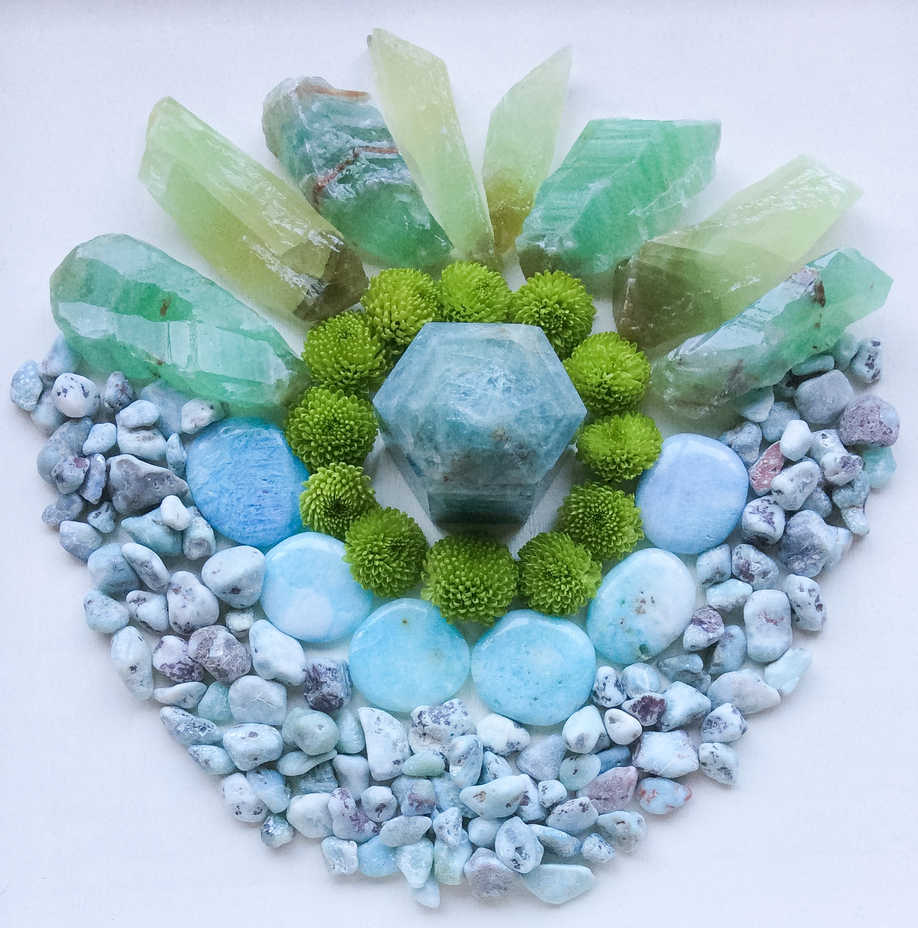 Aquamarine, Blue Aragonite, Larimar, Green Calcite and Chrysanthemum
