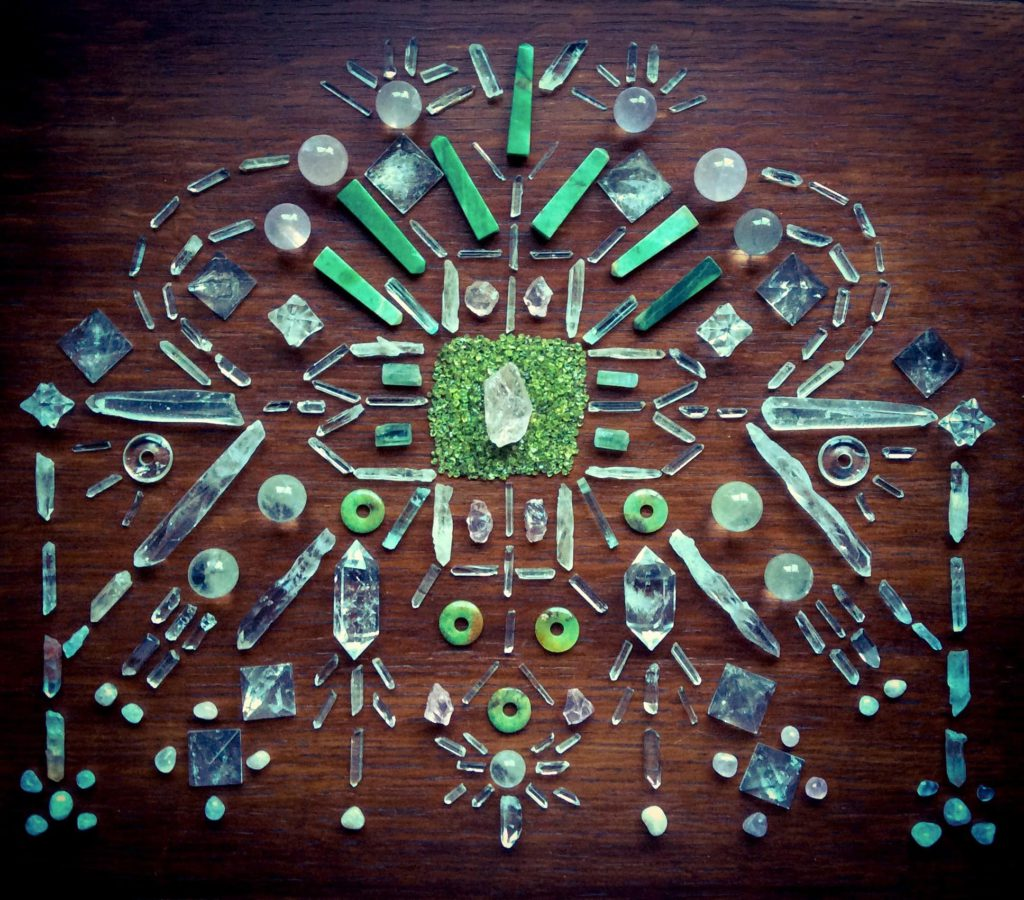 Morganite, Peridot, Chrysoprase, Quartz, Lemurian Laser Quartz, Rose Quartz, Aquamarine and Laser Quartz Crystal Grid by Woodlights Woudlicht