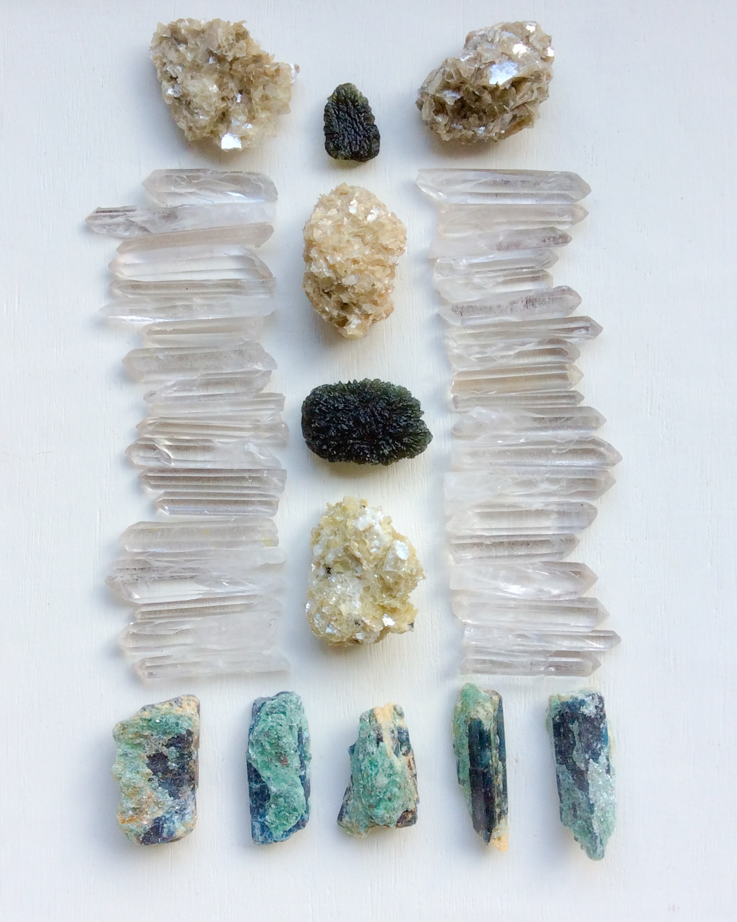 Moldavite, Star Muscovite, Lemurian Quartz, Quartz, and Fuchsite with Kyanite