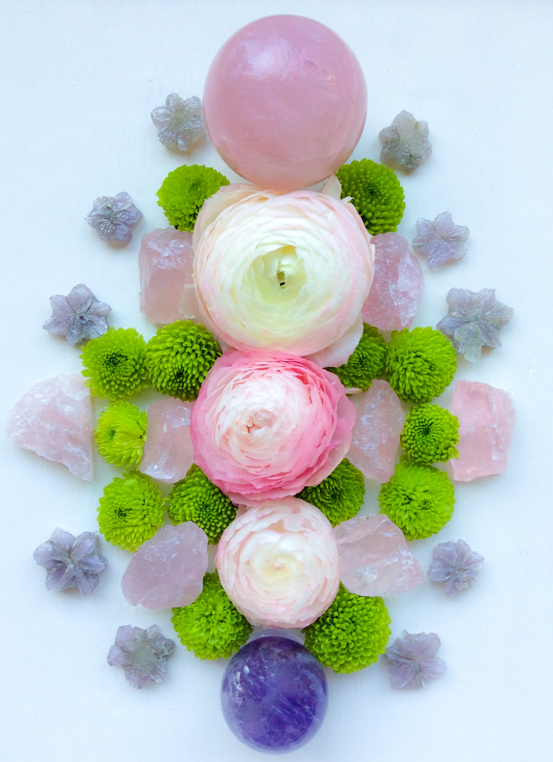 Rose Quartz, Aragonite, Amethyst, Ranunculus and Chrysanthemum