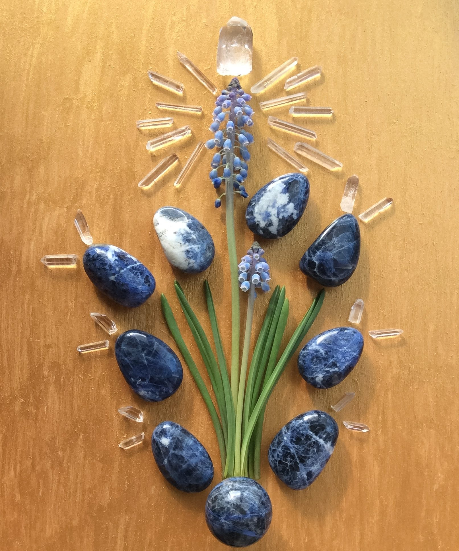 Sodalite, Quartz and Muscari