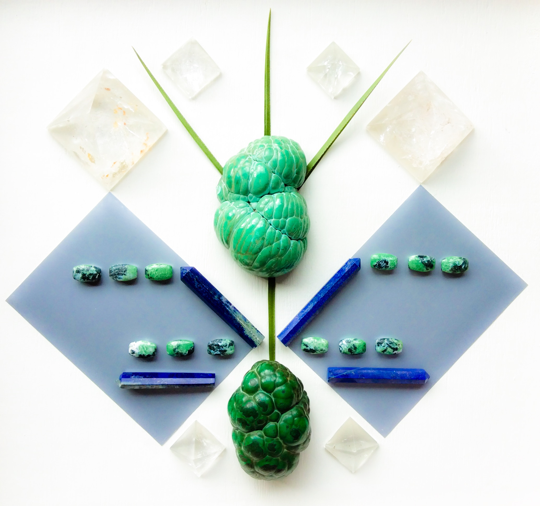 Malachite, Lapis Lazuli, Zoisite, Quartz and Leaves