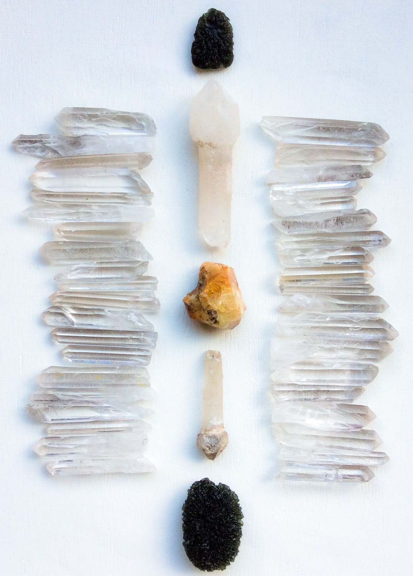 Phenacite, Scepter Quartz, Moldavite and Lemurian Quartz