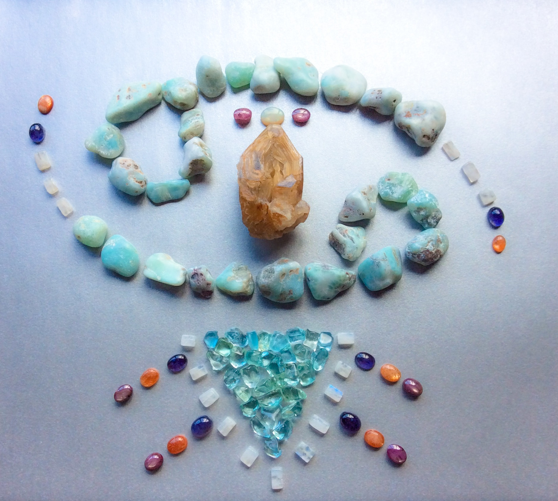 Fenster Elestial Lightkeeper Quartz, Opal, Star Ruby, Larimar, Aquamarine, Moonstone, Iolite and Sunstone