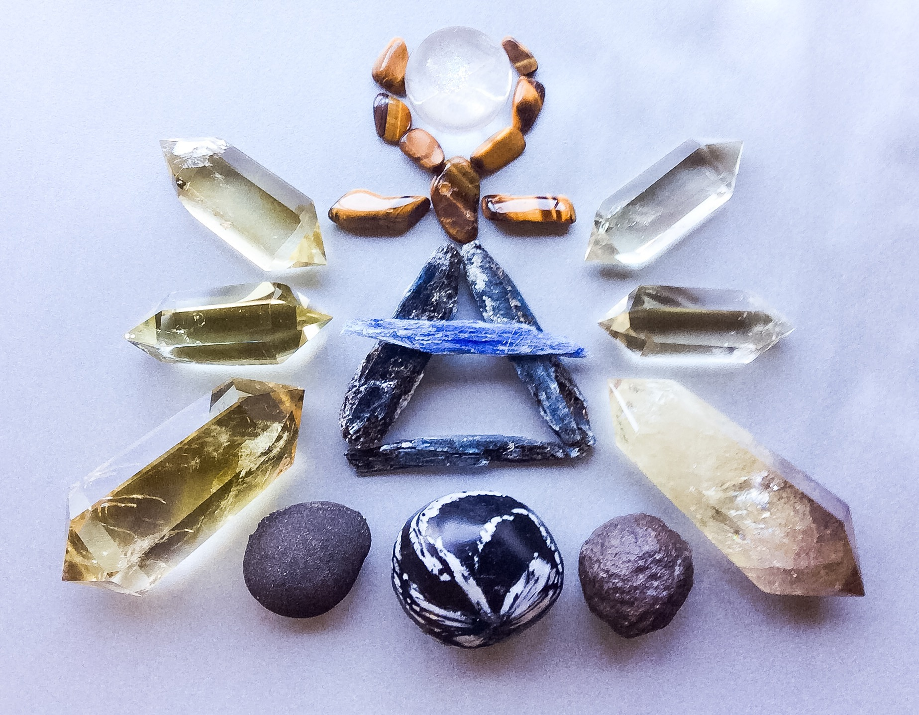 Kyanite, Tiger Eye, Quartz, Chrysanthemum Stone, Boji Stones and Citrine