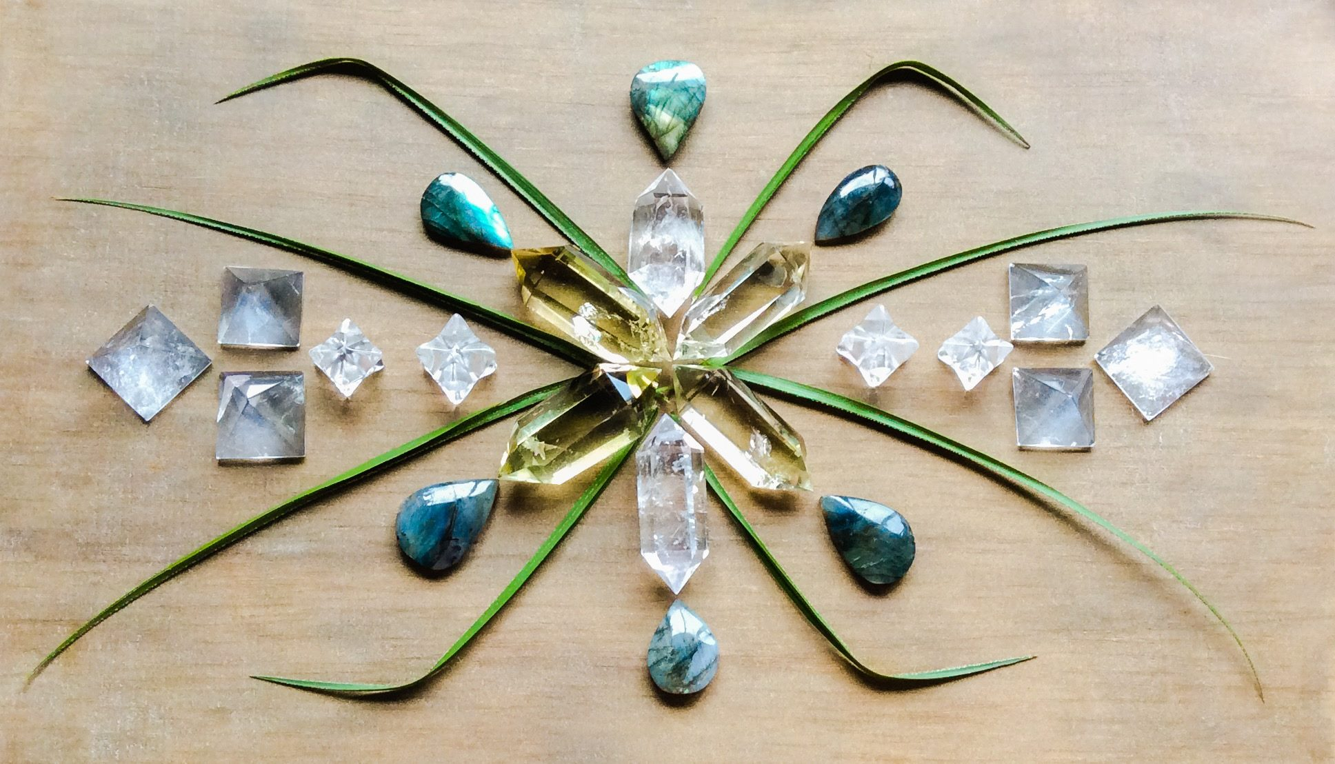 Labradorite, Quartz, Citrine and leaves
