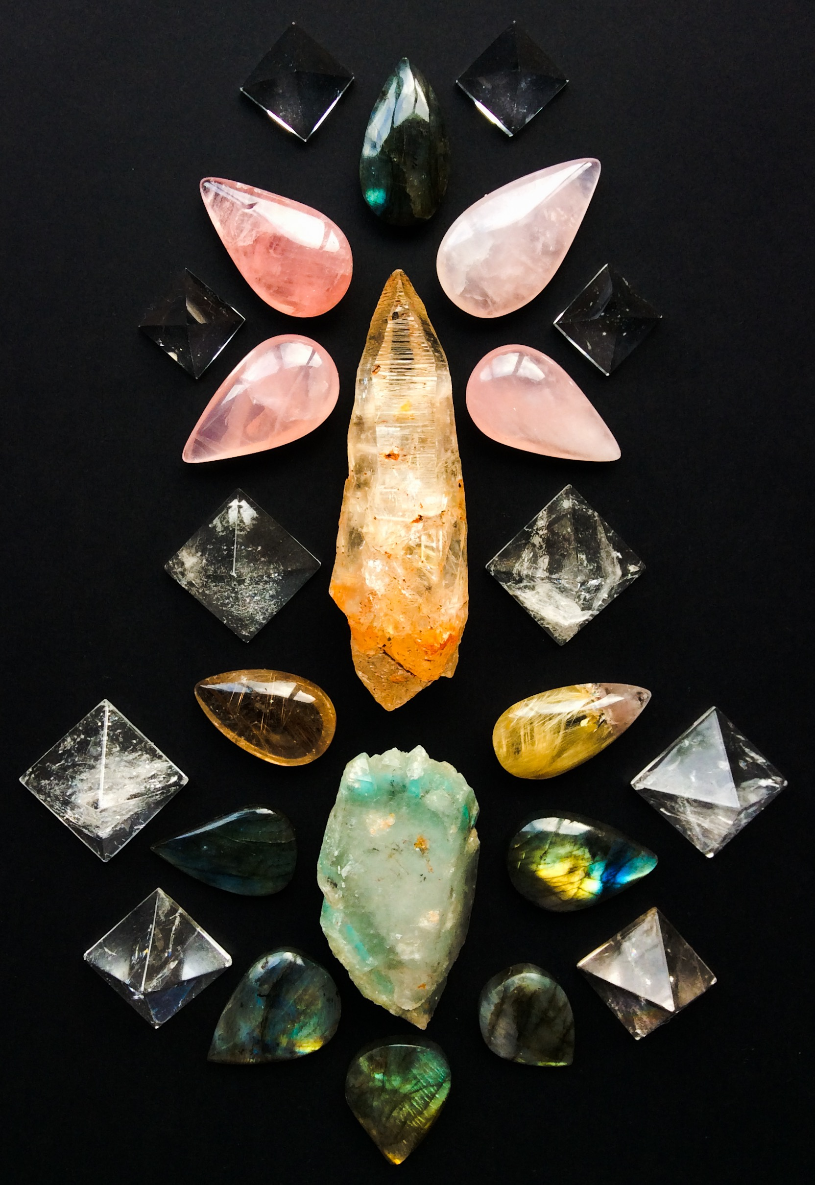 Ajoite in Quartz, Lemurian Quartz with multi-inclusions, Rutile Quartz, Rose Quartz, Quartz and Labradorite