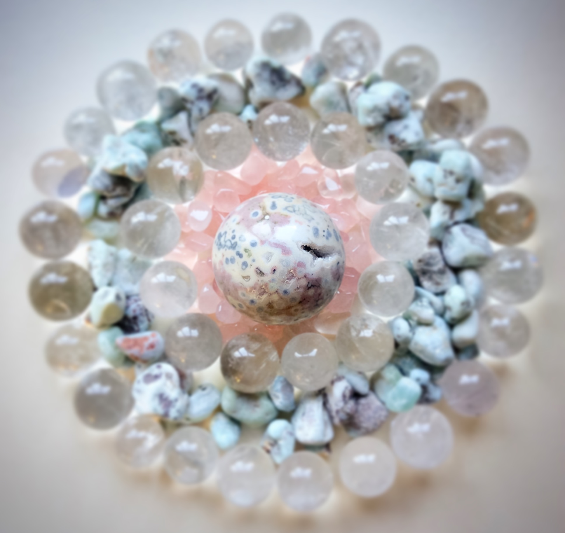 Ocean Jasper, Rose Quartz, Quartz and Larimar