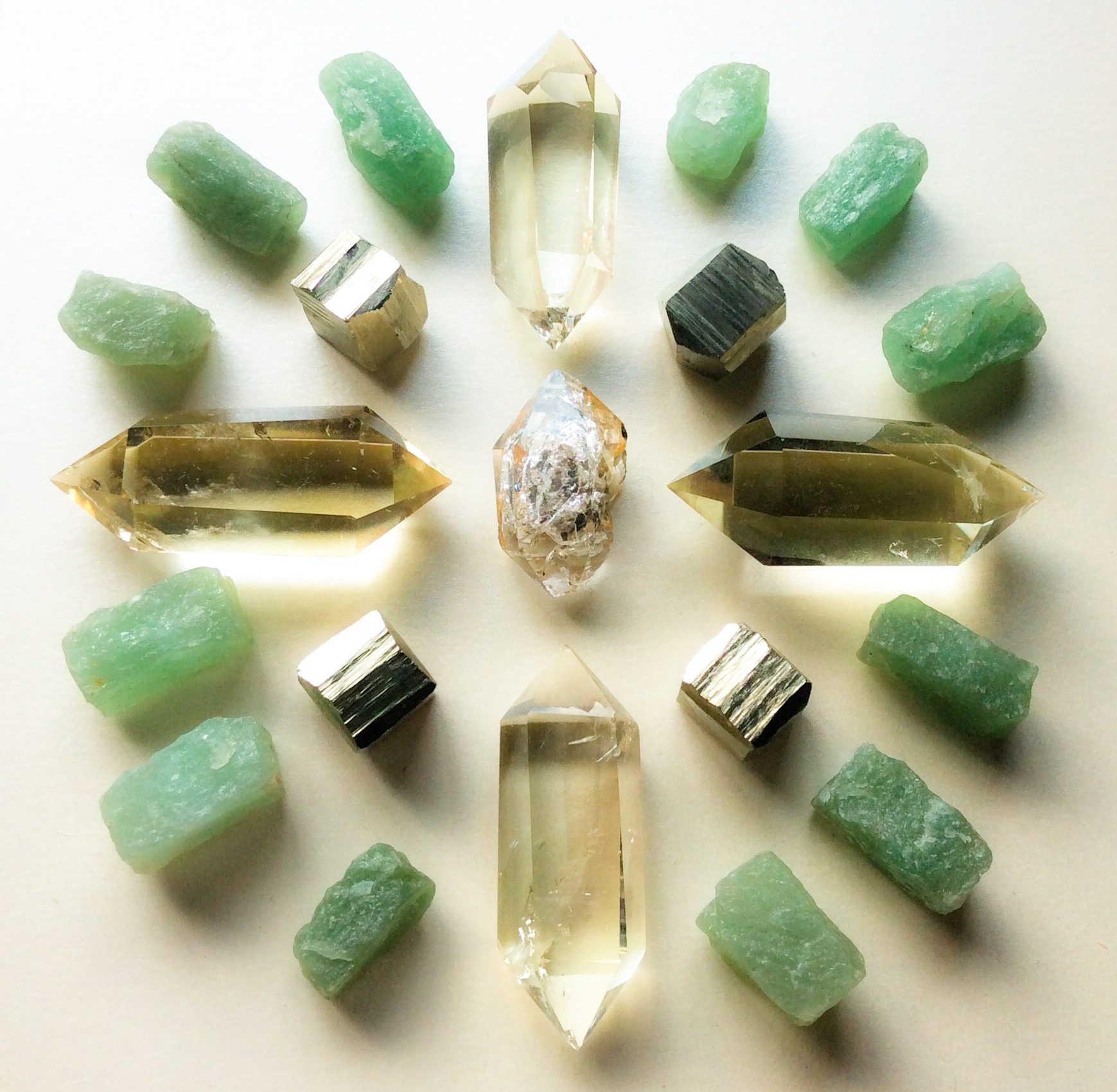Herkimer Diamond, Citrine, Pyrite and Aventurine