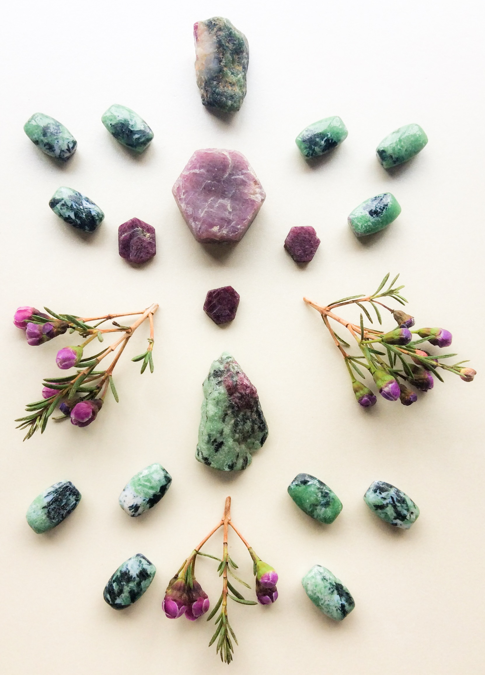 Ruby, Ruby in Zoisite, Zoisite and Wax flowers