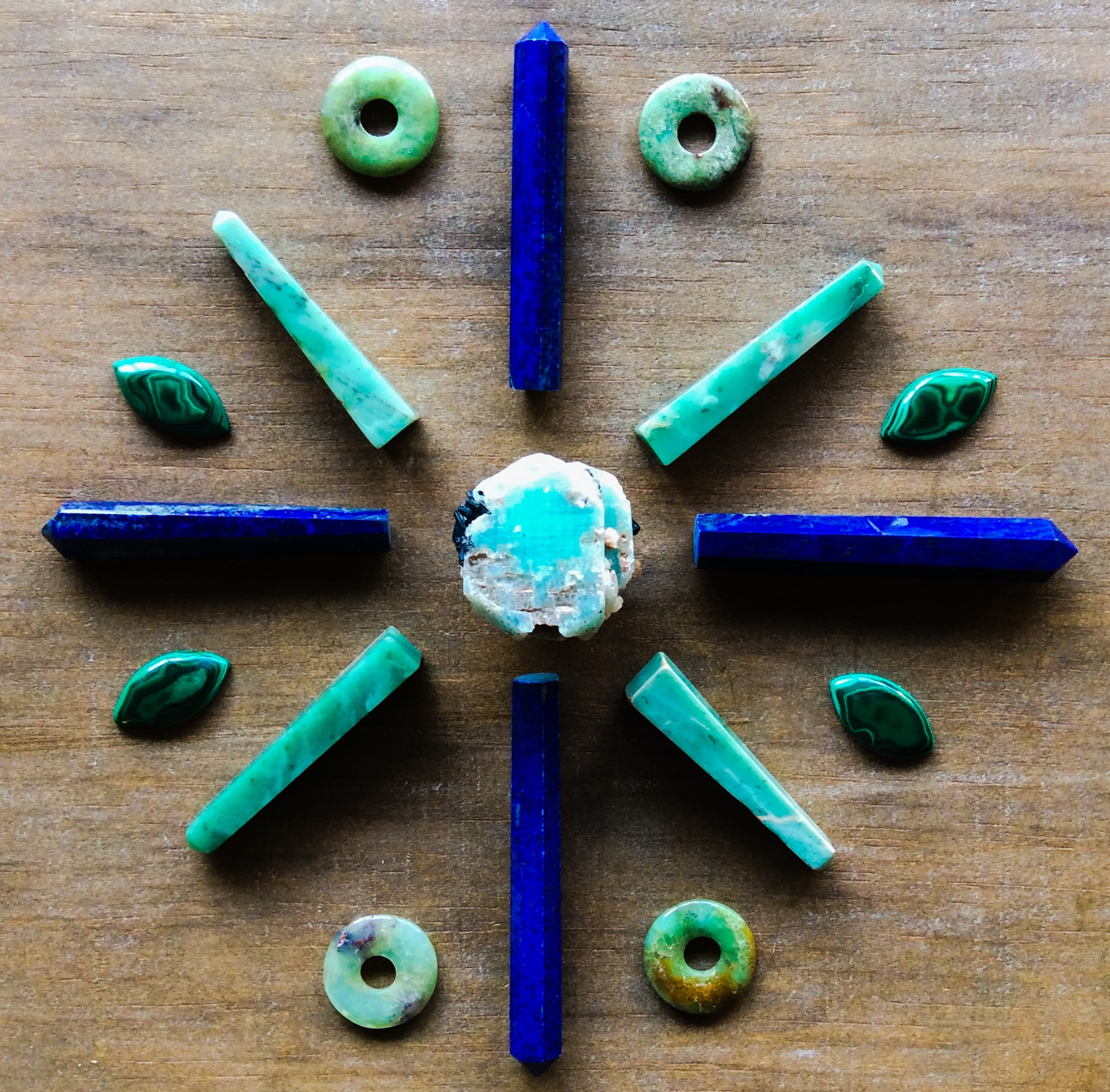 Amazonite, Lapis Lazuli, Chrysoprase and Malachite