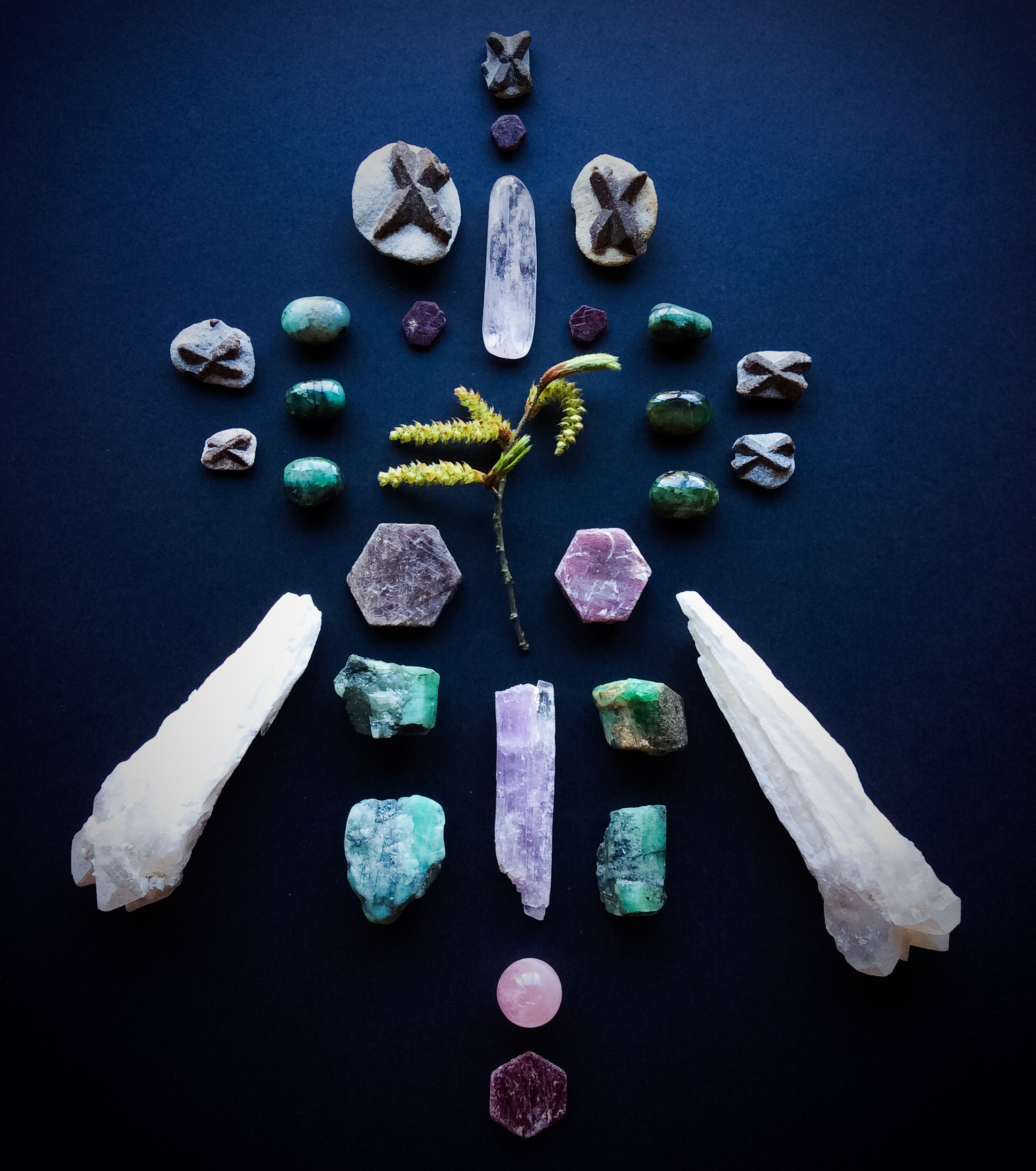 Ruby, Emerald, Kunzite, Rose Quartz, Staurolite, Druid White Quartz and Fagus