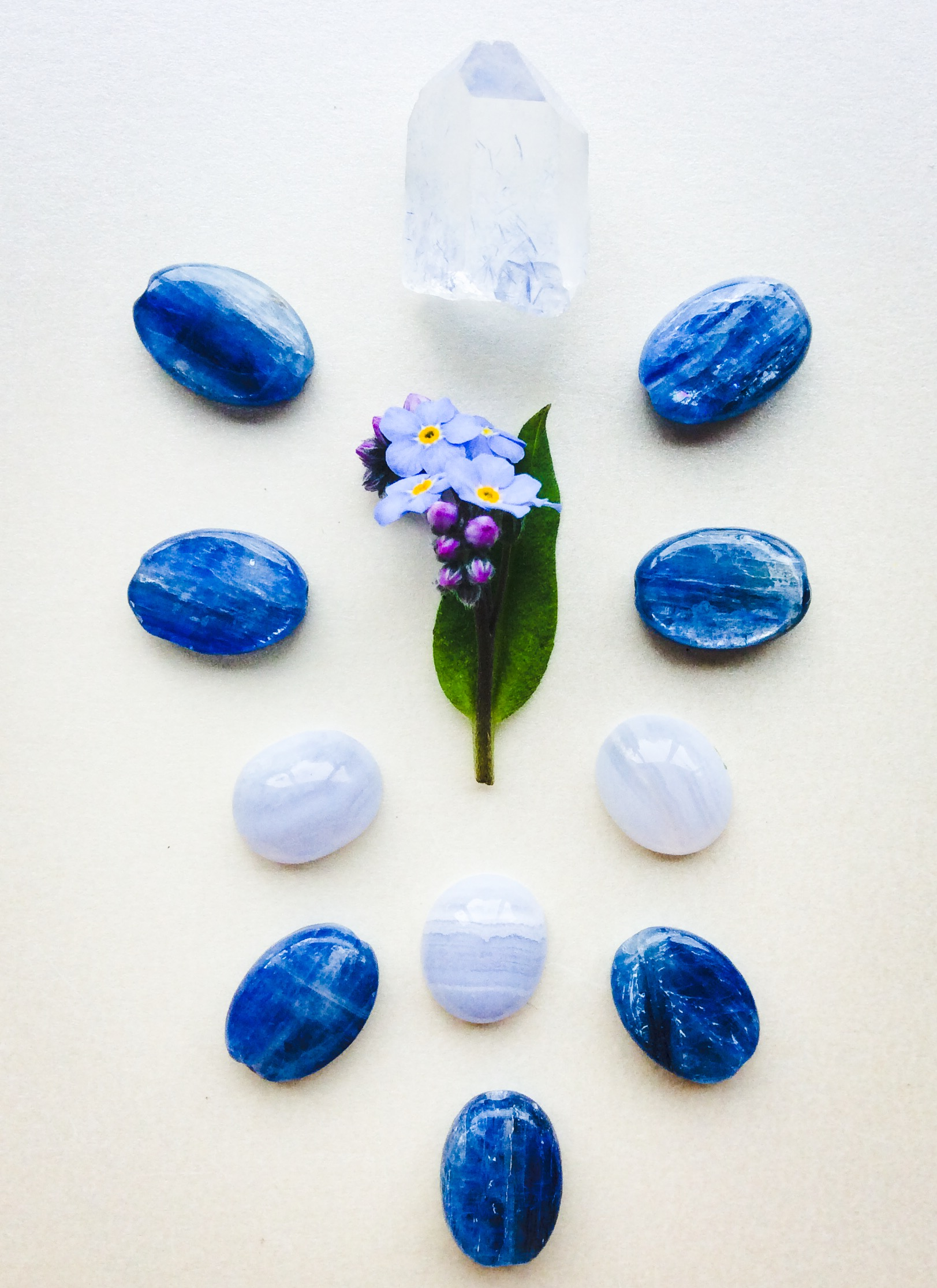 Blue Lace Agate, Kyanite, Dumortierite in Quartz and Forget-me-not