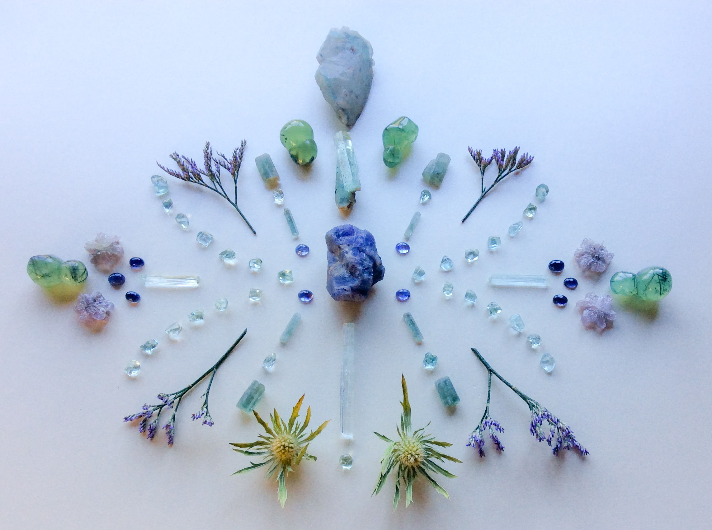 Tanzanite, Aquamarine, Ajoite Quartz, Phrenite, Iolite, Aragonite, Thistle and Limonium