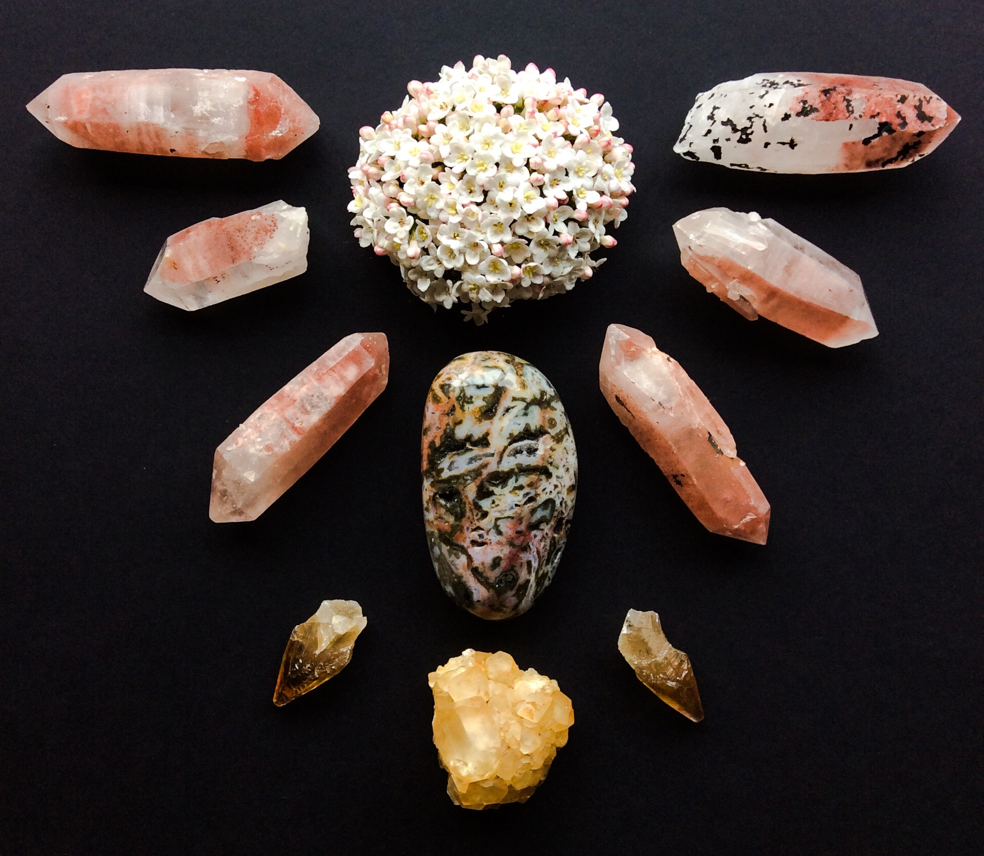 Ocean Jasper, Hematoid Quartz, Honey Calcite and Viburnum