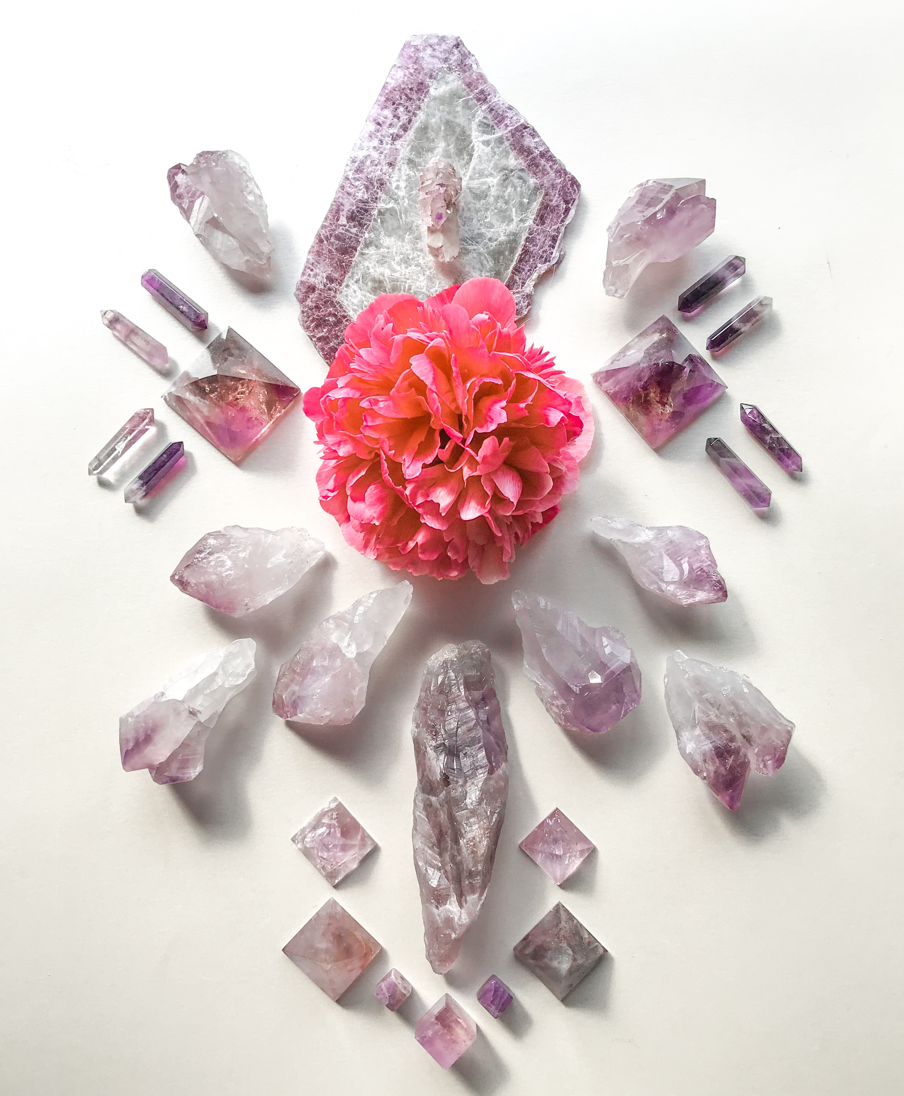 Auralite, Lepidolite with Mica, Amethyst, Scepter Amethyst, Ametrine and Paeonia