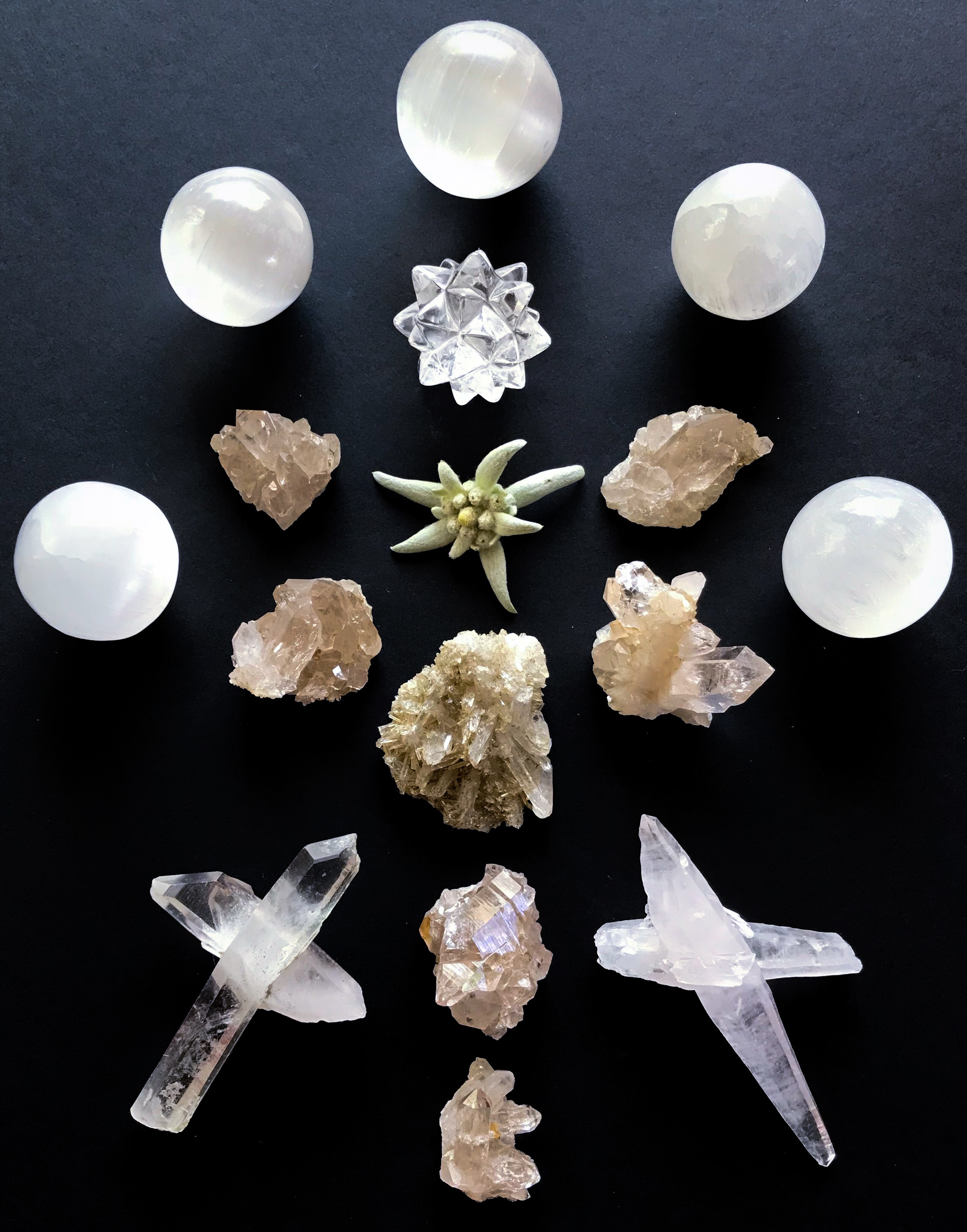 Quartz, Selenite and Edelweiss