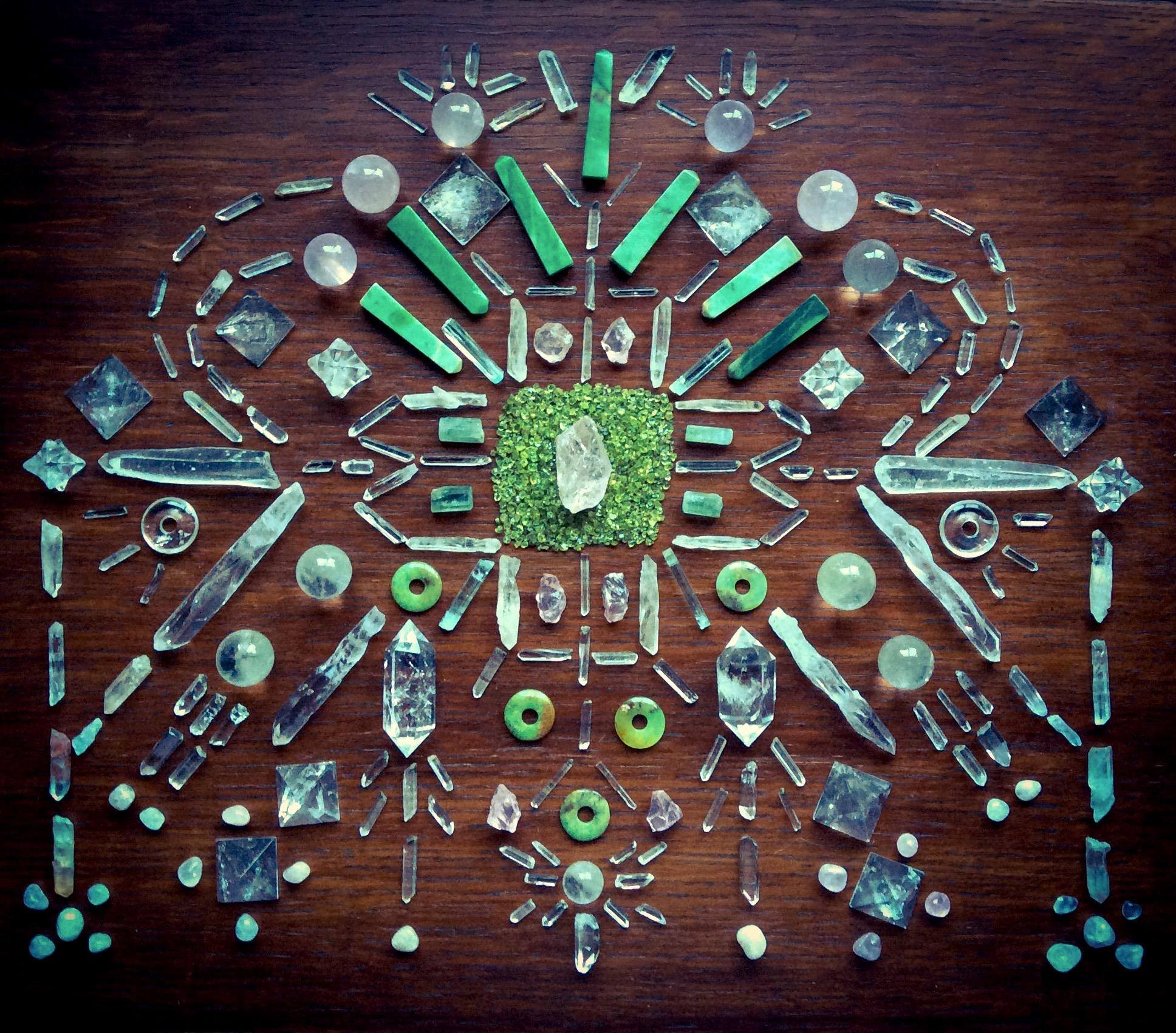 Morganite, Peridot, Chrysoprase, Quartz, Lemurian Laser Quartz, Rose Quartz, Aquamarine and Laser Quartz