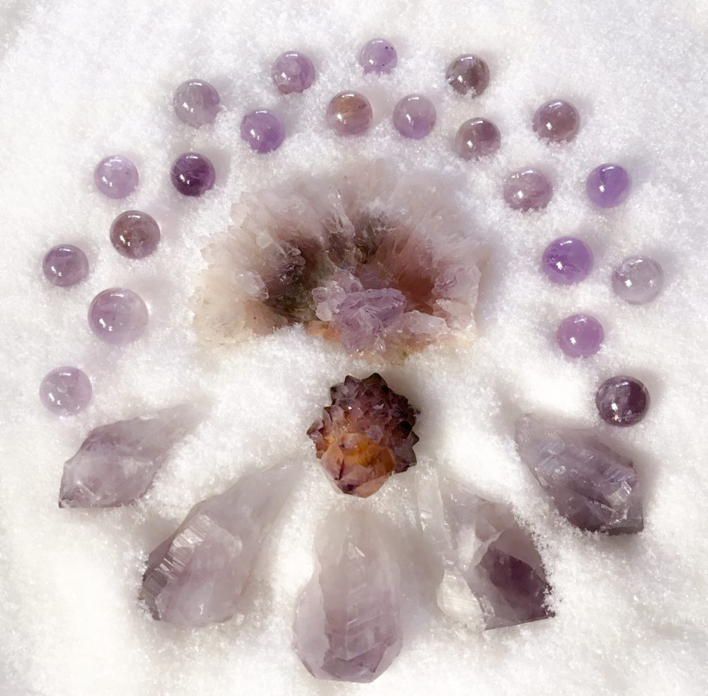 Amethyst Rose, Amethyst Cactus Quartz and Amethyst