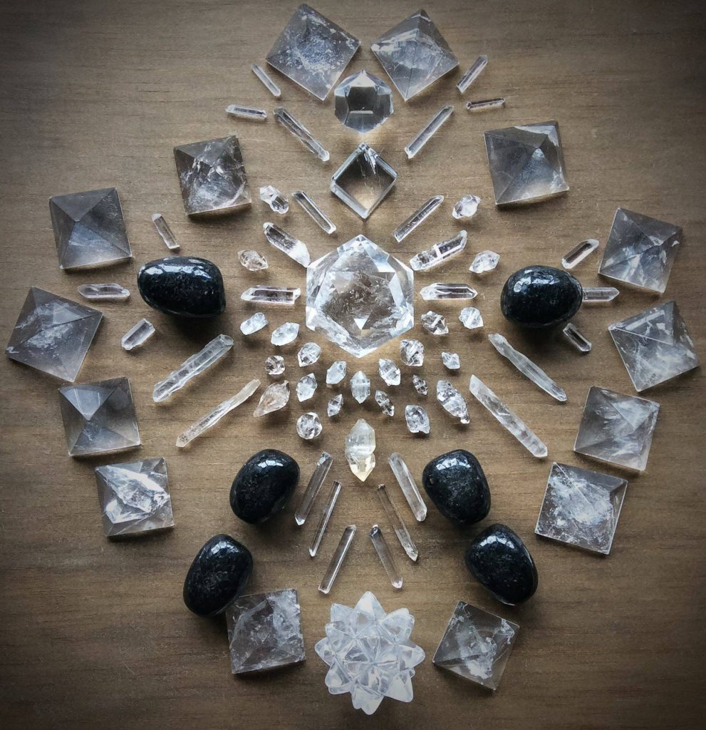 Quartz, Nuummite and Herkimer Diamond