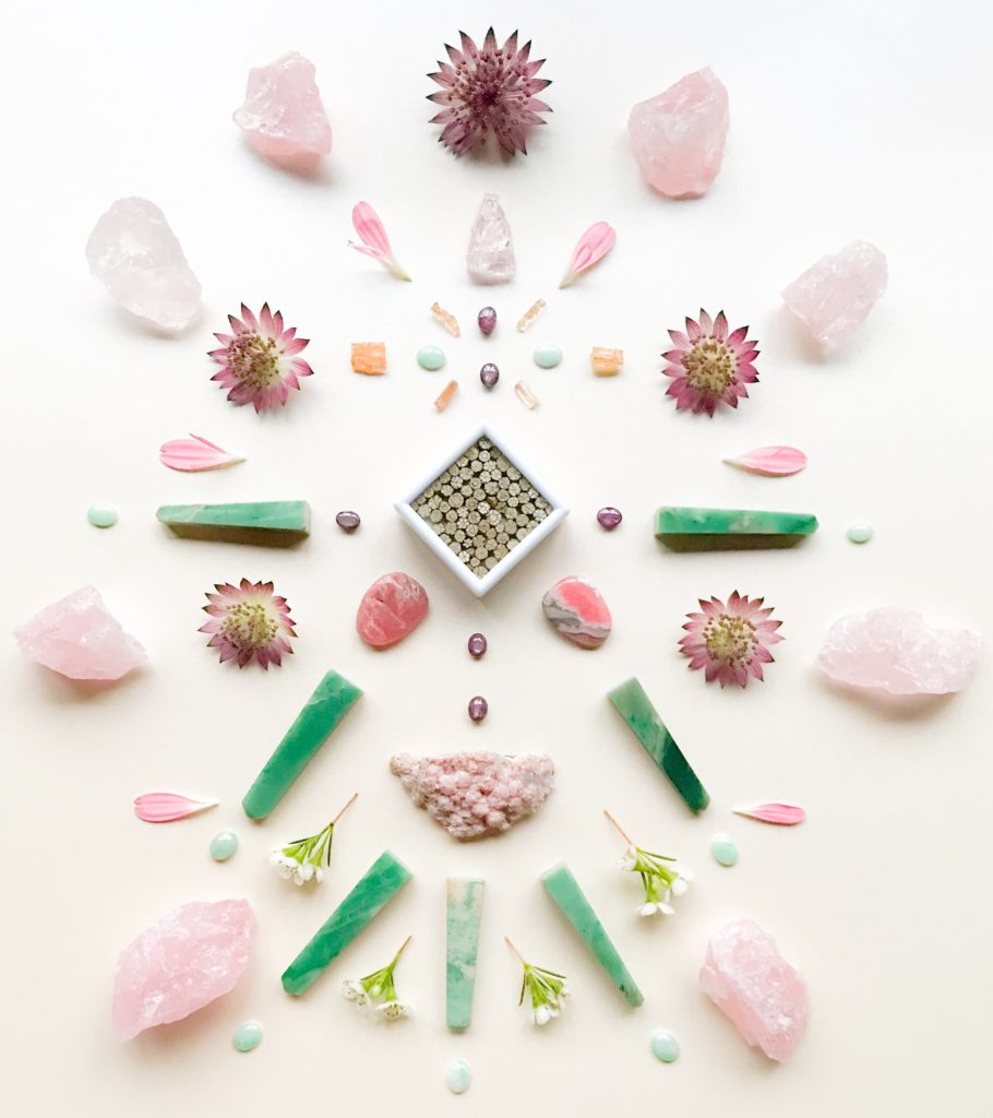 Cherry Blossom Stone, Star Ruby, Rodochrosite, Chrysoprase, Jade, Rose Quartz, Imperial Topaz, Morganite and Astrantia, Gerbera petals and Wax flower