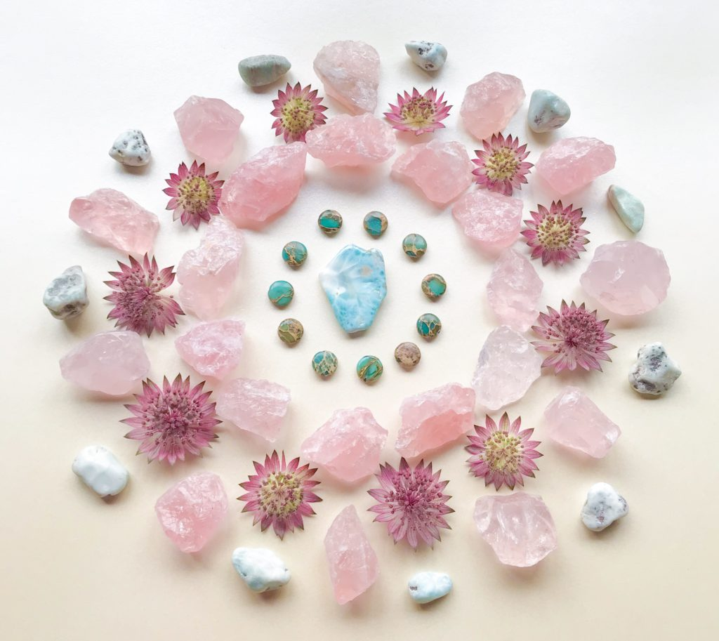 Larimar, Blue Jasper, Rose Quartz and Astrantia