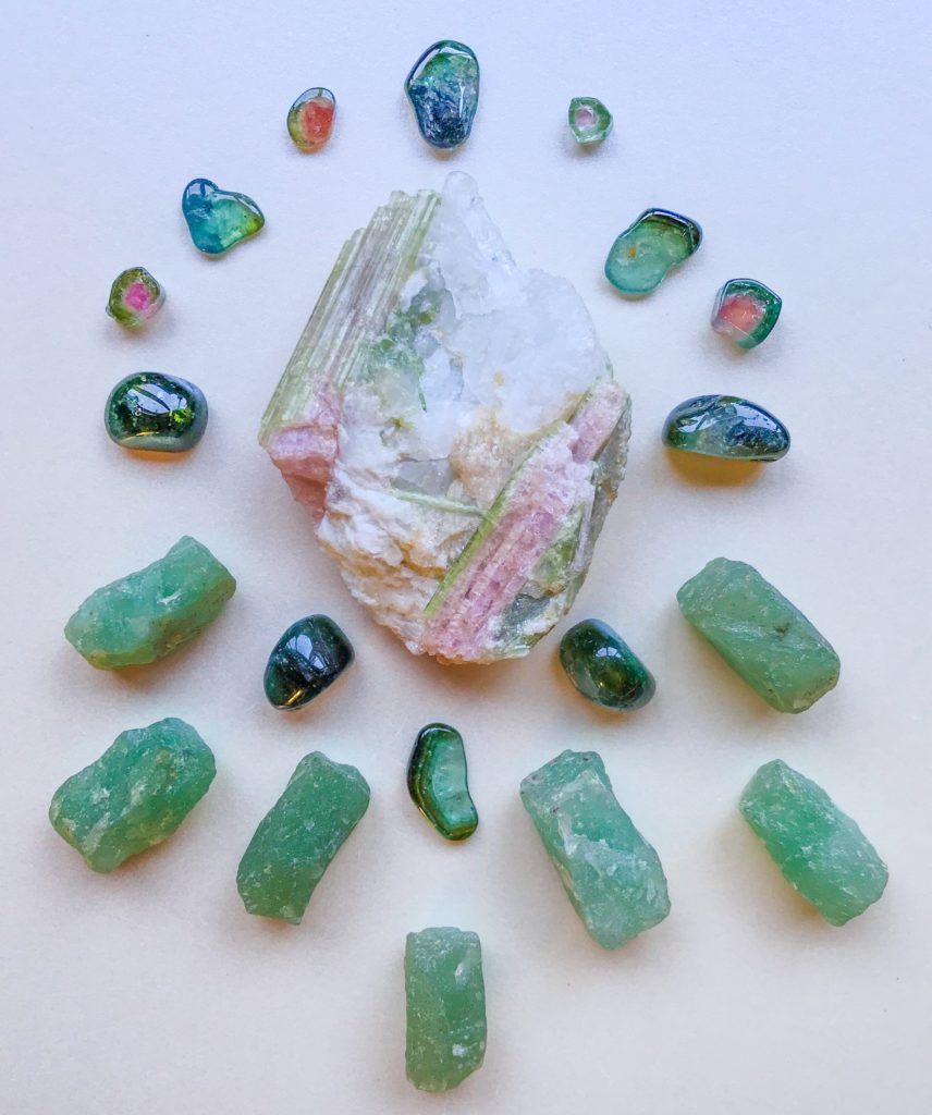 Tourmaline in Quartz, Verdelite, Watermelon Tourmaline and Aventurine
