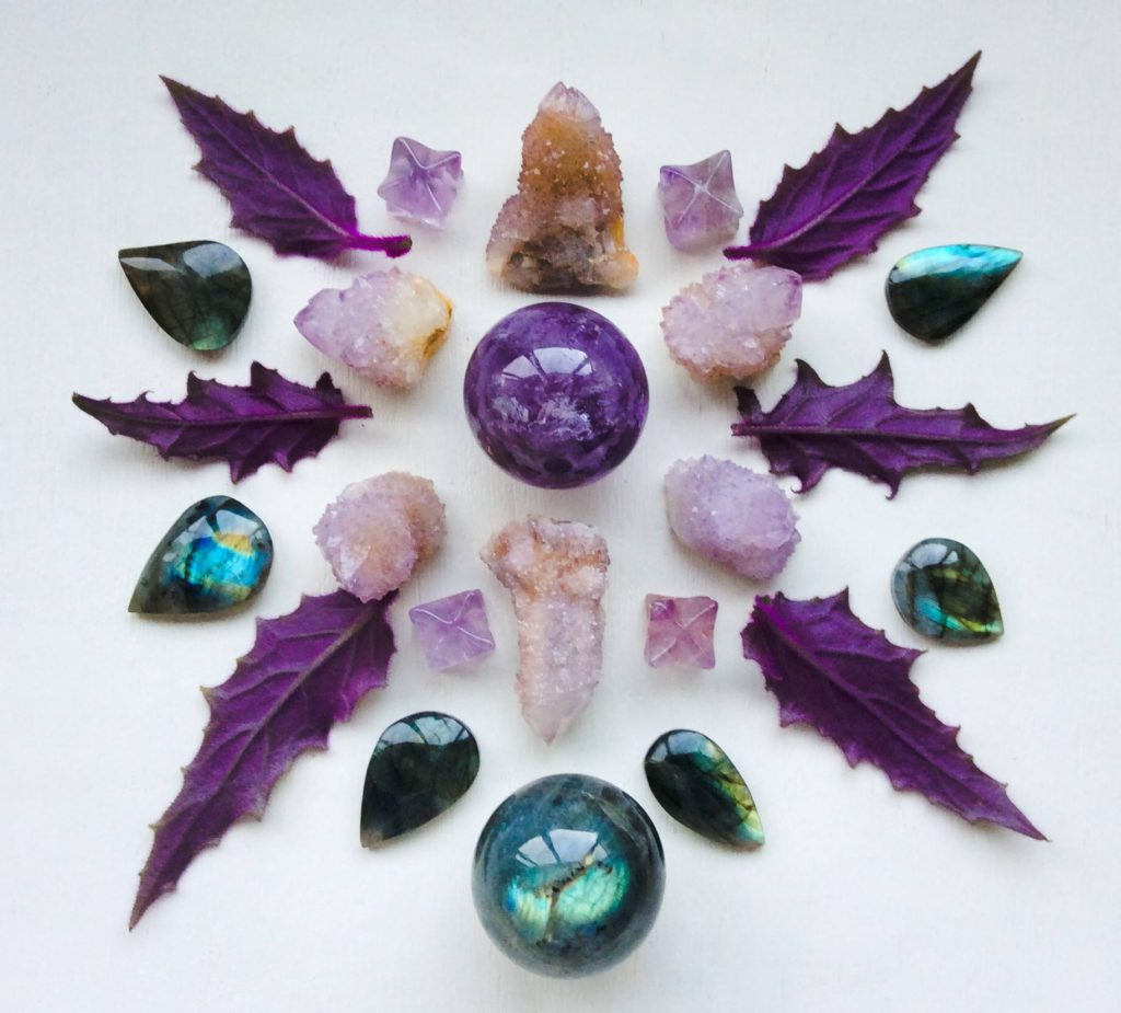 Amethyst, Cactus Quartz, Labradorite and Gynura leaves