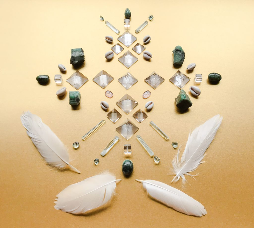 Quartz, Morganite, Emerald, Aquamarine, White Feathers and Cowry Shells