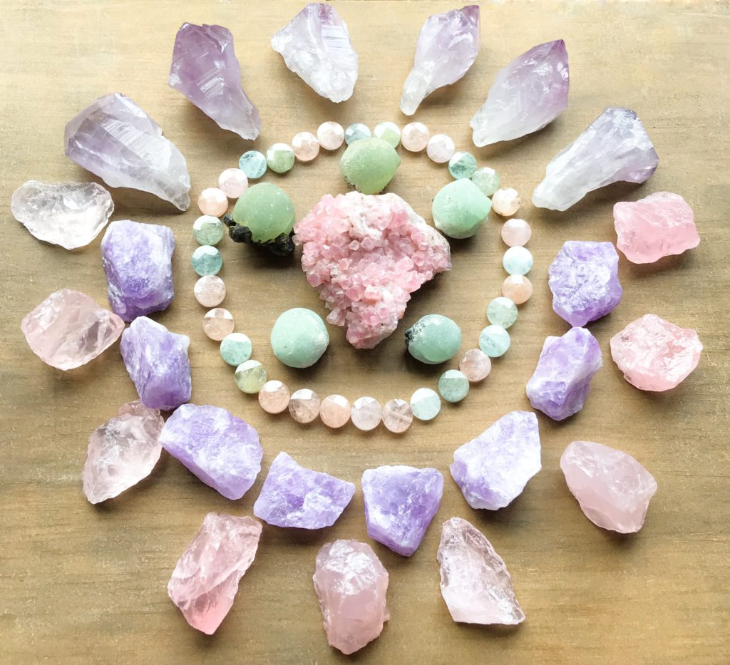Smithsonite, Phrenite with Epidote, Beryl, Lavender Amethyst and Rose Quartz