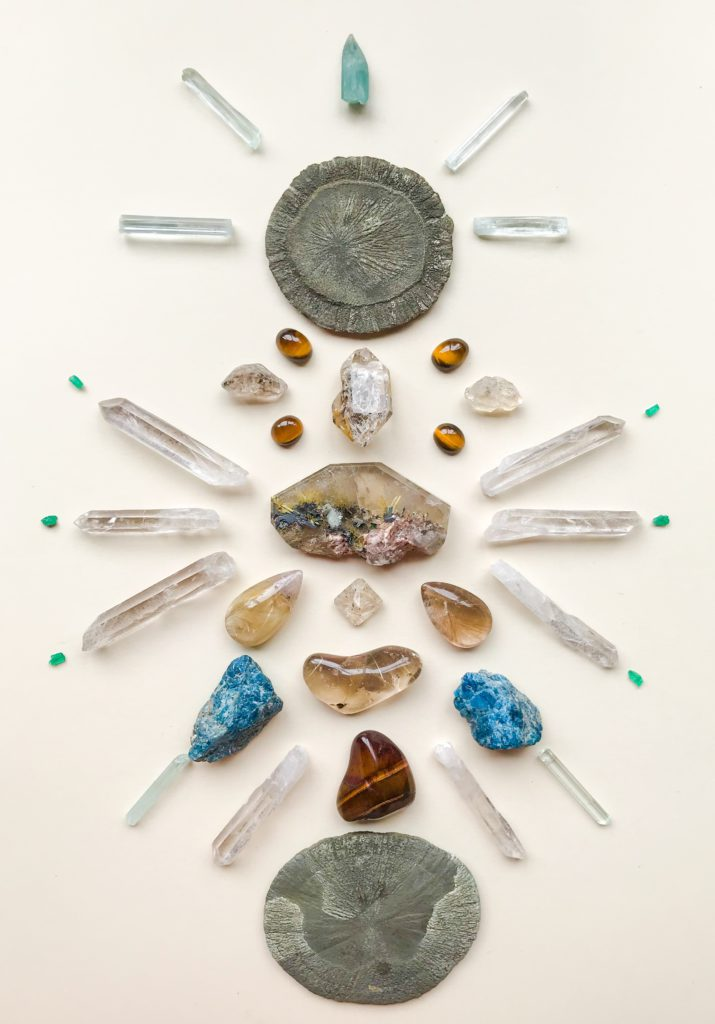 Pyrite Sun, Rutile Quartz, Herkimer Diamond, Tiger Eye, Quartz, Apatite, Aquamarine and Emerald