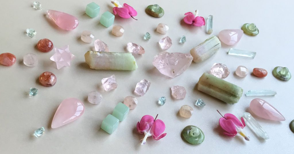 Morganite, Tourmaline, Rose Quartz, Sunstone, Aquamarine, Jade, Chrysoprase, Phrenite and Dicentra