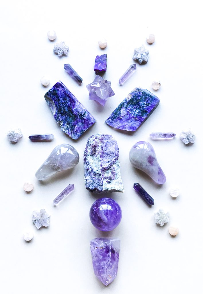 Fluorite, Amethyst, Super Seven, Aragonite, Charoite, Sugilite and Morganite