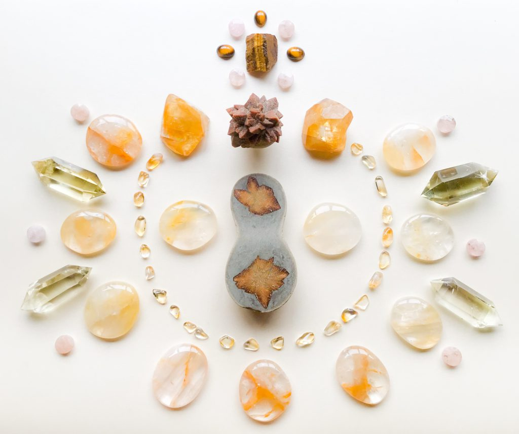 Glendonite, Golden Healer Quartz, Honey Calcite, Citrine, Tiger Eye and Morganite
