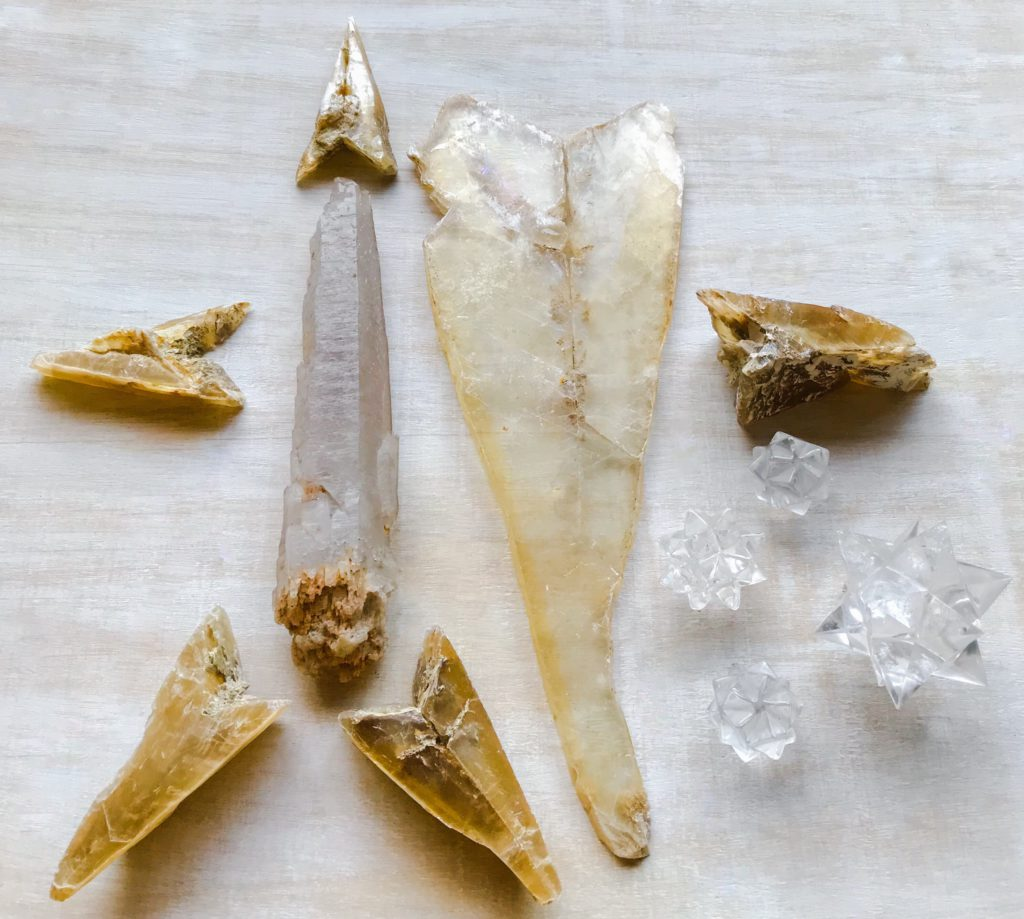 Golden Selenite, Self-healed Quartz, and Quartz