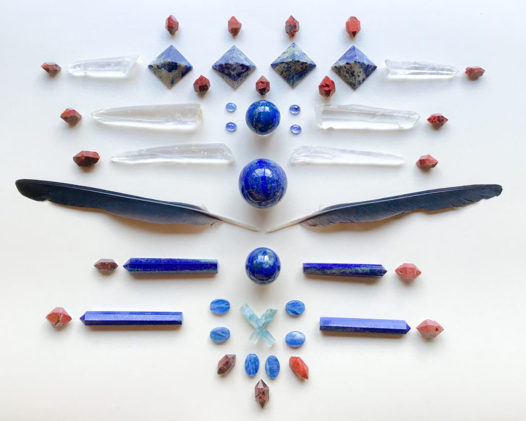 Lapis Lazuli, Tanzanite, Laser Quartz, Red Quartz, Aquamarine, Kyanite and Blackbird Feathers