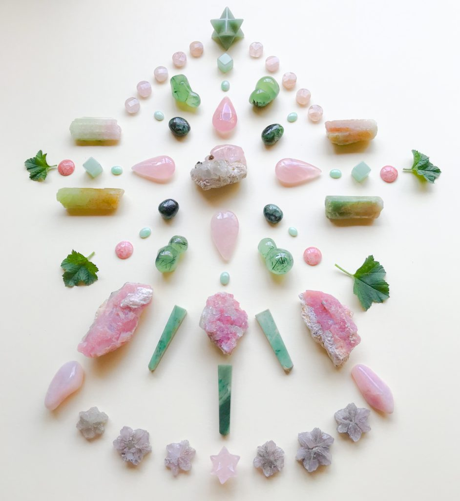 Morganite, Emerald, Rose Quartz, Jade, Phrenite with Epidote, Rubelite, Pink Andean Opal, Chrysoprase, Aragonite, Tourmaline, Rodochrosite, Aventurine, Petalite, and Geranium leaves