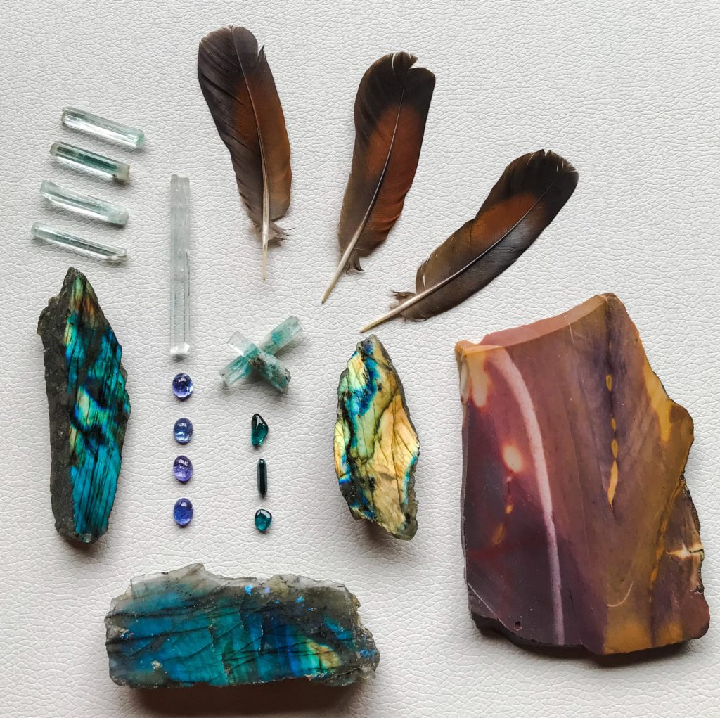 Aquamarine, Tanzanite, Indicolite, Labradorite, Mookaite and Feathers received
