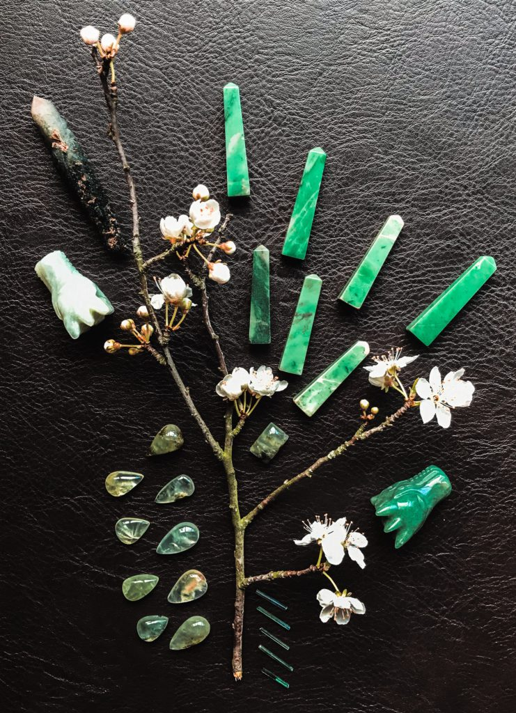 Chrysoprase, Phrenite with Epidote, Verdelite, Aventurine, Jade, Prasem and Plum blossom from our garden