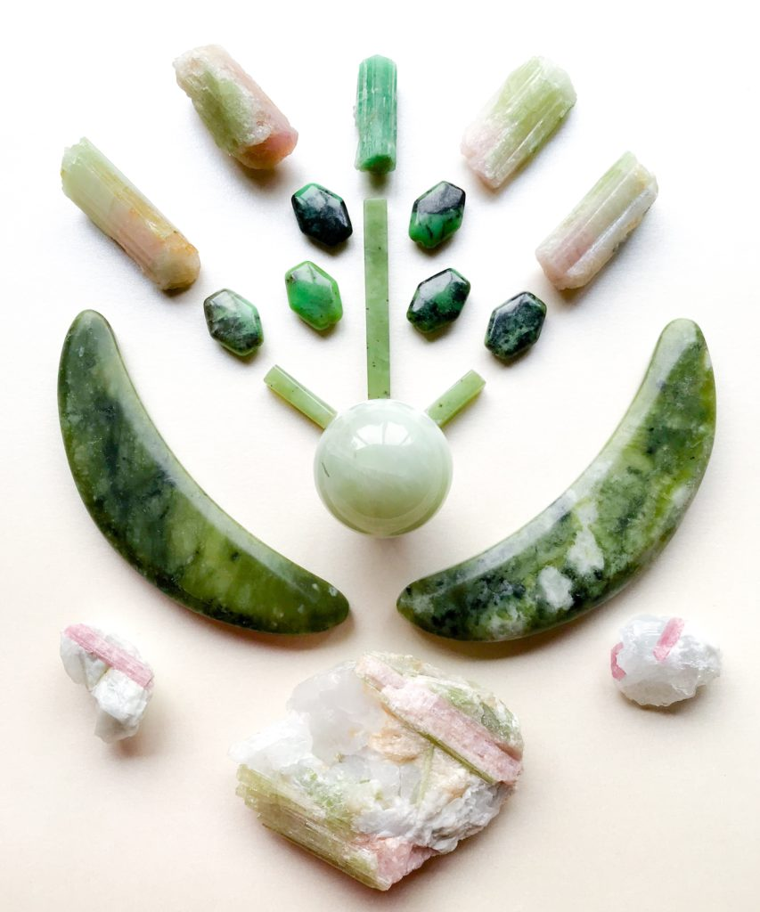 Jade, Nephrite, Serpentine, Emerald, Bi-colour Tourmaline and Tourmaline in Quartz