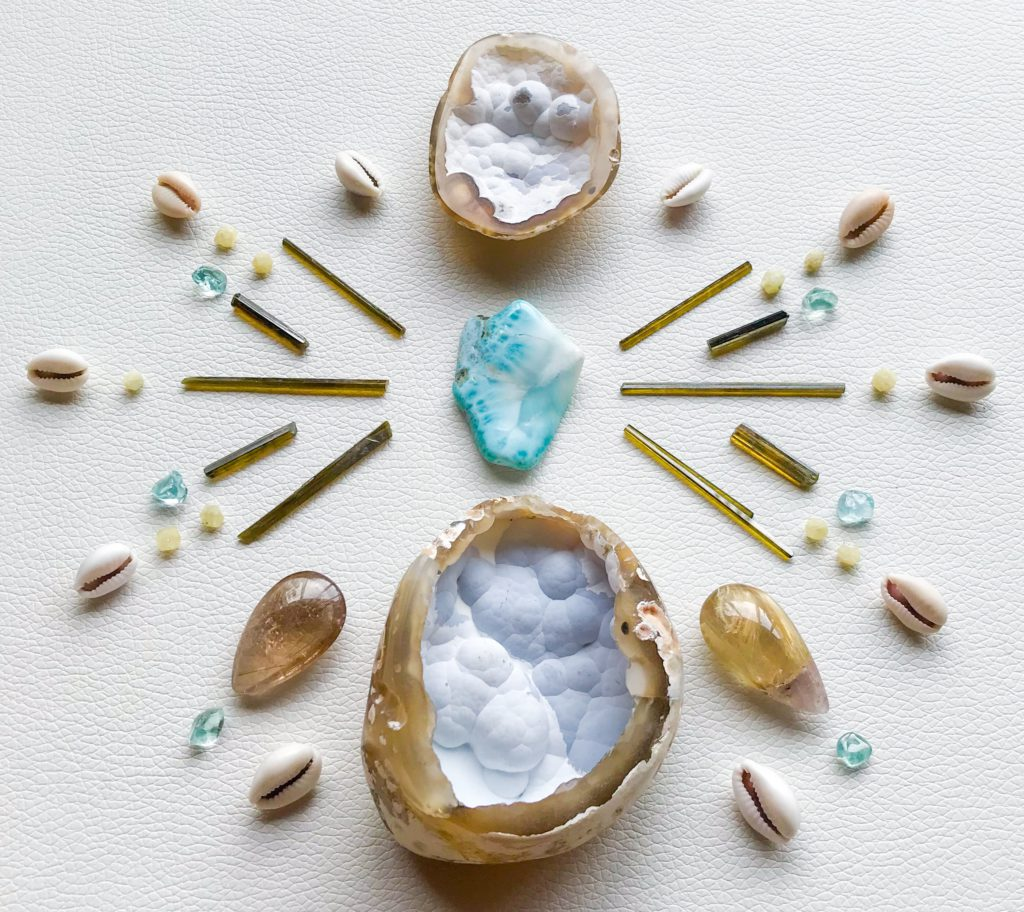 Larimar, Avalonite, Dravite, Aquamarine, Rhodozite, Rutile Quartz and Cowry shells