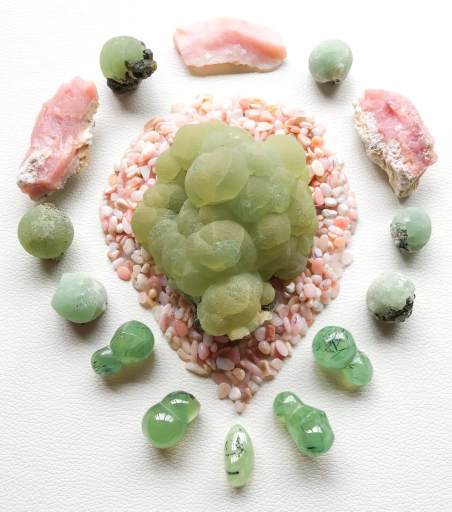 Phrenite, Pink Andean Opal, and Phrenite with Epidote