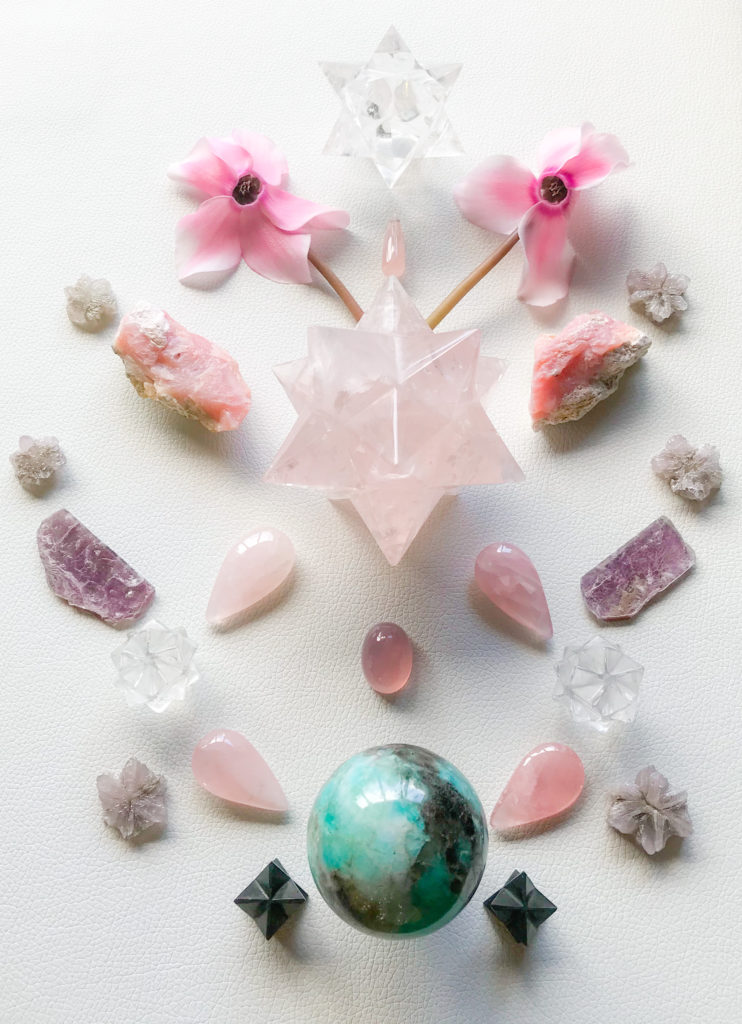Rose Quartz, Pink Andean Opal, Lepidolite, Quartz, Amazonite with Schörl, Shungite, Aragonite and Cyclamen flowers