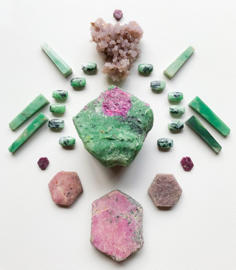 Ruby in Zoisite, Zoisite, Ruby, Chrysoprase and Grape Chalcedony