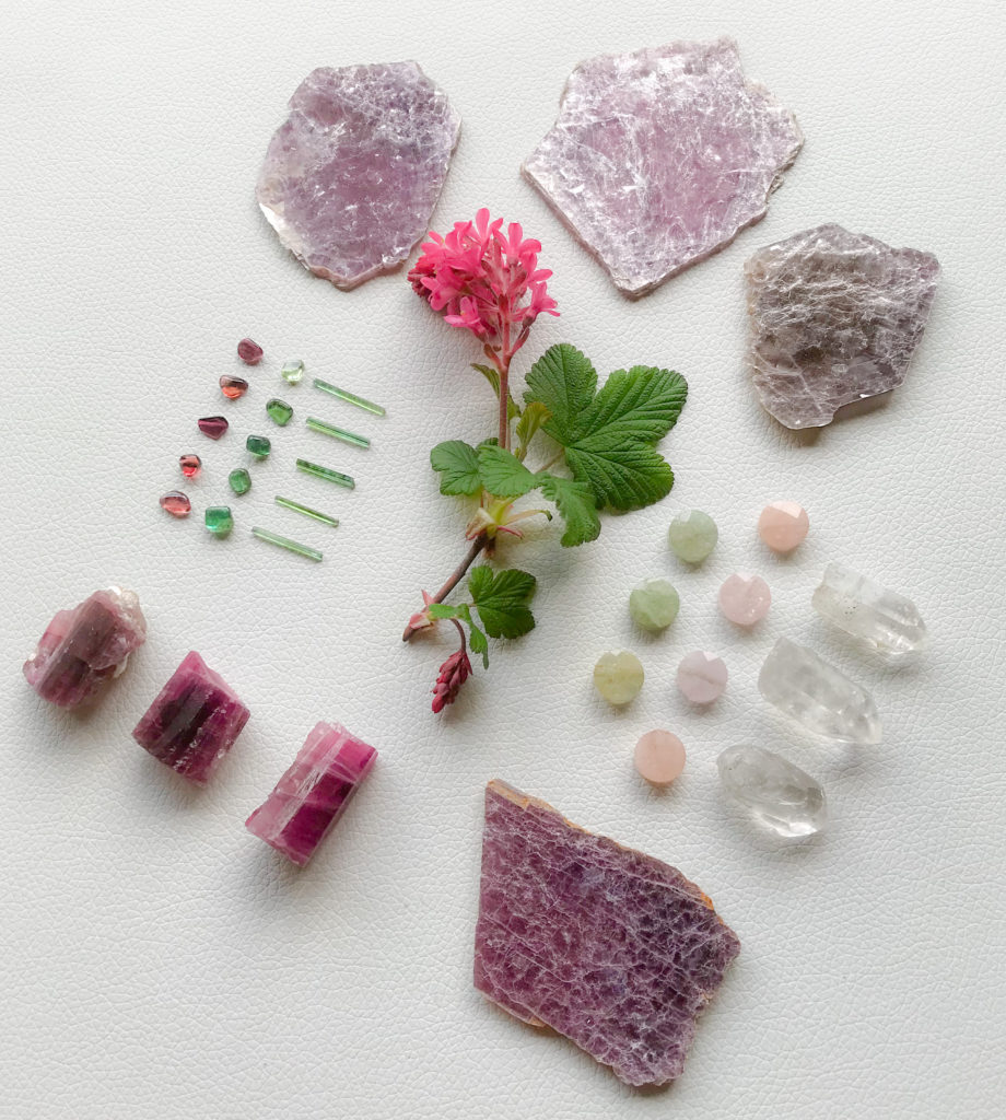 Verdelite, Rubellite, Green Beryl, Morganite, Quartz, Lepidolite and Ribes sanguineum