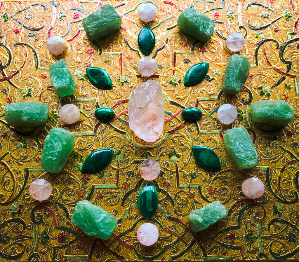 Morganite, Malachite and Aventurine