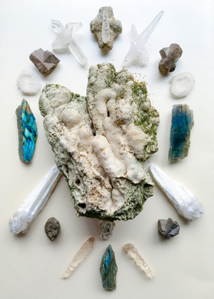 Tuff with Lichen, Labradorite, White Druid Quartz, Staurolite, Dissolved Quartz, Herkimer Diamond and Quartz