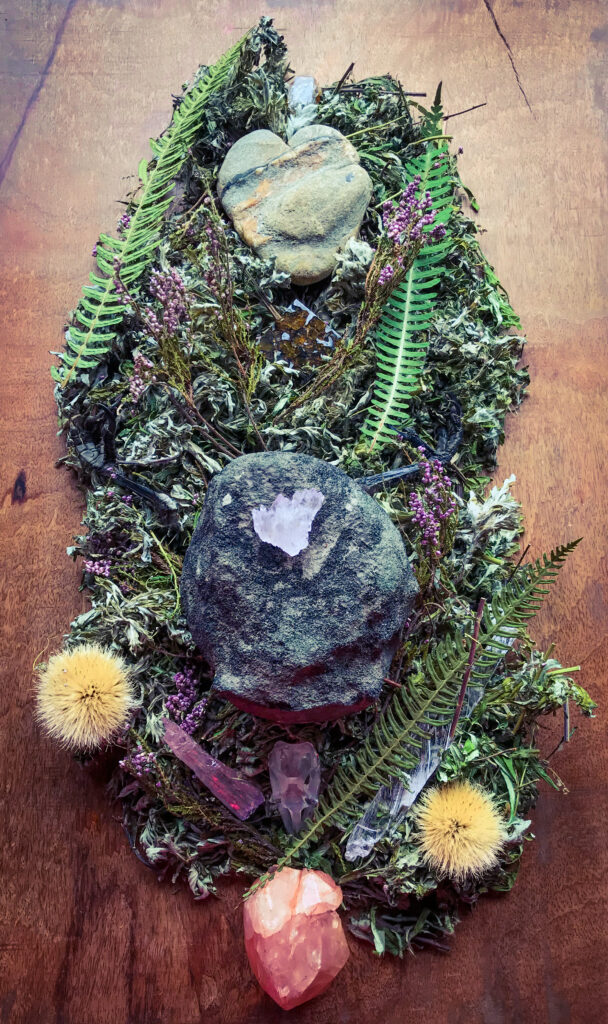Natural Heart-shaped Stone with Hematite and Quartz veins received, Herkimer Diamond, Seycham Pallasite, Whale vertebra fossil, Kunzite, Crow claws, Quartz, Morganite upon a bed of dried sacred plant allies